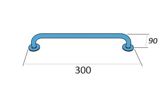 Poręcz dla niepełnosprawnych prosta 40 cm fi 32 mm z atestem PSP 444 chrom/mat