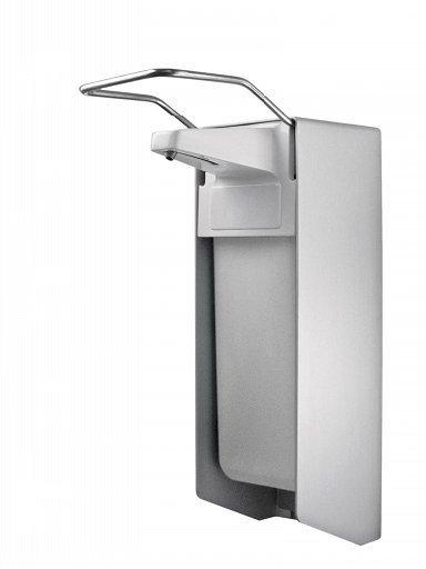 Dozownik (dystrybutor) łokciowy do płynów dezynfekcyjnych i mydła w płynie Faneco (ESA1000) 1 litr z aluminium