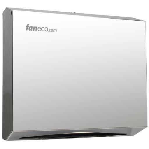Pojemnik (podajnik) Faneco ZZ Duo (P600SGP) na ręczniki papierowe w listkach, ścienny, ze stali nierdzewnej, chrom (lustro)
