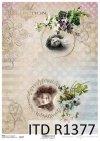 papier ryżowy Vintage, wiosenne kwiatki, dekory, tła, twarze dziewczynek*Vintage rice paper, spring flowers, decors, backgrounds, girls faces