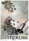 Papier decoupage w stylu Vintage, twarz kobiety, róże*Decoupage paper in Vintage style, woman's face, roses