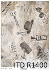 papier decoupage Vintage, stara gazeta, fryzjerskie akcesoria*vintage decoupage paper, old newspaper, hairdressing accessories