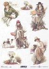 retro, vintage, woman, lady, fashion, hat, dog, R698
