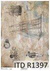 papier decoupage mapa, żaglowiec, motywy marynistyczne*decoupage paper map, sailing ship, nautical motifs