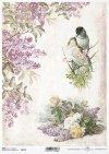 decoupage de papel lilas, rosas, pájaros*Decoupage Papier Flieder, Rosen, Vögel