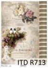 Vintage, kwiaty, róże, róża, ptaki, jaskółki, R713