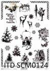 Papier scrapbooking Vintage, choinki, amorki, święta*Vintage scrapbooking paper, Christmas tree, cupids, Christmas