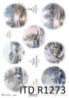 papier do decoupage: owale do bombek, domki, kościółki, zimowe widoczki, Vintage