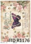 papier decoupage kwiaty, motyl*Paper decoupage flowers, butterfly