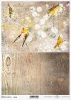 Pájaros en decoupage de papel, estructura de tablones, vintage, collage*Papier Decoupage Vögel, Plankenstruktur, Vintage, Collage*Декупаж из бумаги птички, структура доски, винтаж, коллаж