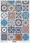 Papel de arroz vintage, azulejos de colores*Vintage Reispapier, bunte Fliesen*Винтажная рисовая бумага, красочные плитки