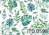papier decoupage z liśćmi, zielono-niebieskie liście*decoupage paper with leaves, green and blue leaves