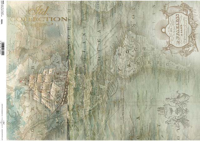 Rice paper A3 R034L - Rice paper old map, sailing