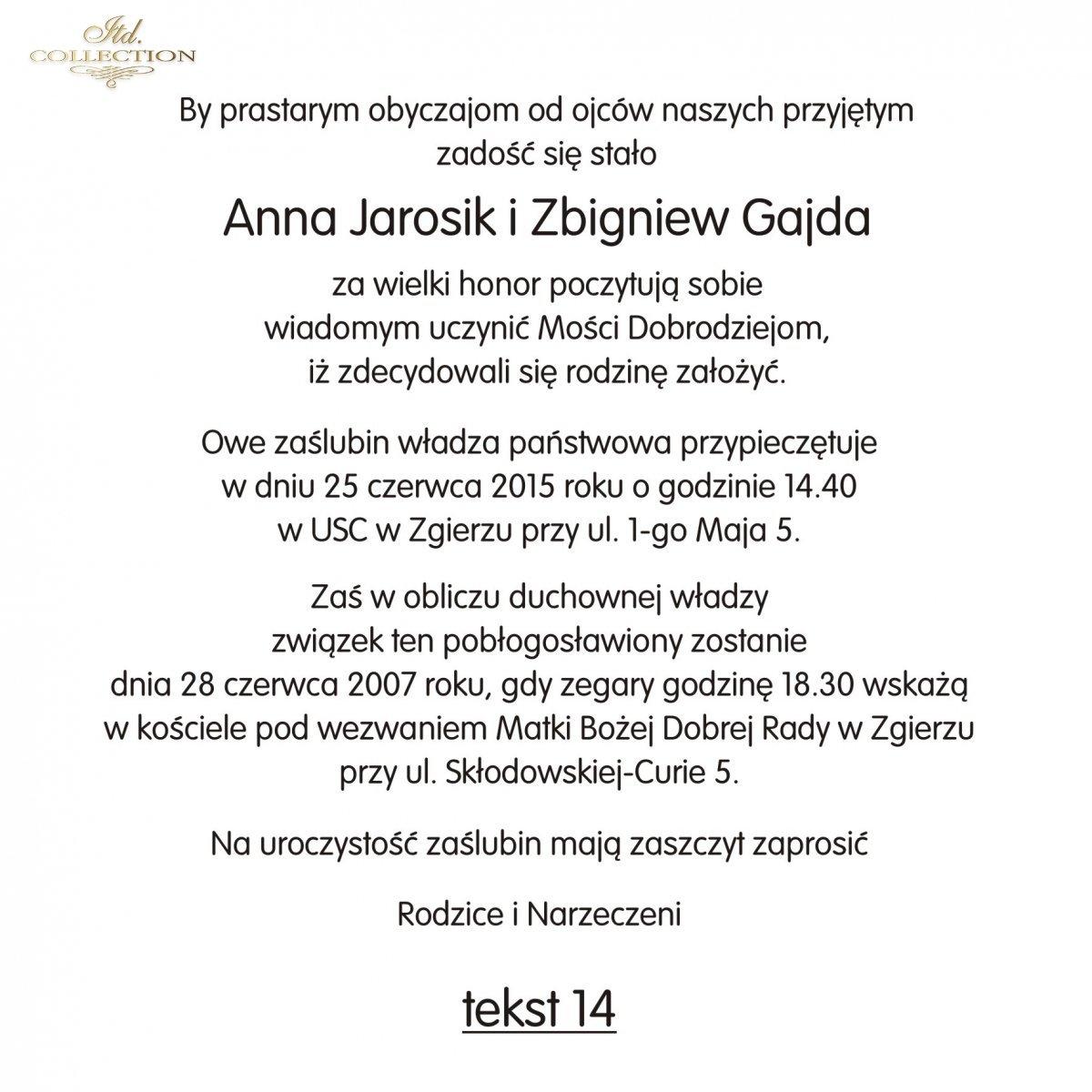 Teksty Na ślub Ts14 Polskie Zaproszenia ślubne Fajne Teksty Na