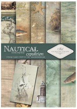 Set von Papieren für Scrapbooking SCRAP-048 ''Nautical expedition''