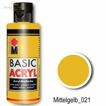 Farba akrylowa Basic Acryl 80 ml Mittelgelb 021