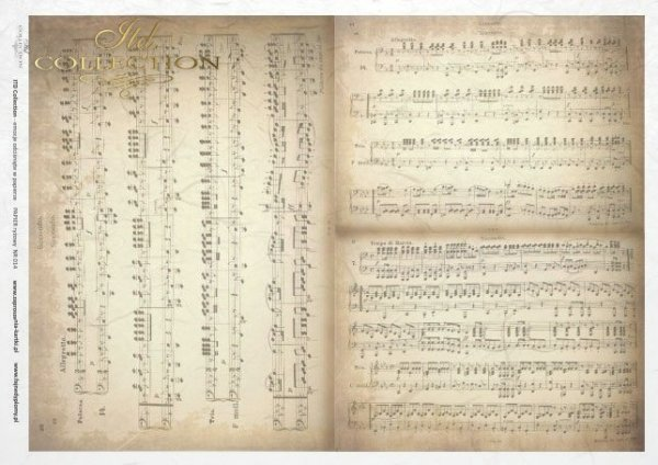 Reispapier Decoupage - alten Noten, retro, vintage*rýžový papír decoupage - starý notový záznam, retro*rice paper decoupage - old sheet music, retro, vintage