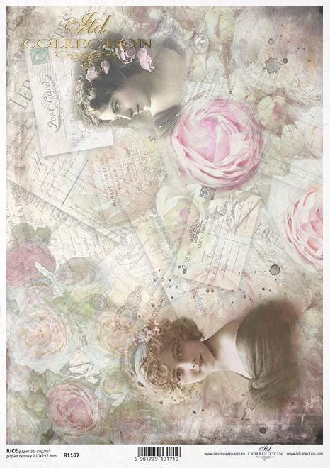 Decoupage Papier Blumen, Vintage*Decoupage papírové květiny, Vintage*Flores de papel decoupage, la vendimia