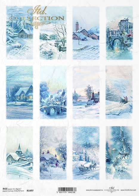Navidad, motivos para velas, botellas, vistas de invierno*Weihnachten, Motive für Kerzen, Flaschen, Winteransichten*Рождество, мотивы для свечей, бутылки, зимние виды