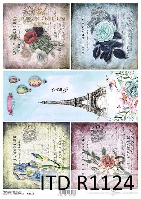 papier decoupage kwiaty, Wieża Eiffla, Paryż*Paper decoupage flowers, Eiffel Tower, Paris
