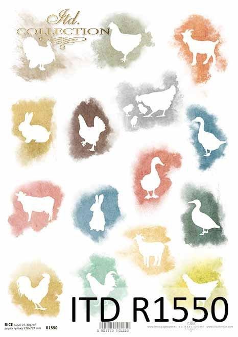 Papier decoupage Wielkanoc, kury, kaczki, kurczaczki, gęsi, kozy, krowy*Decoupage paper Easter, chickens, ducks, chickens, geese, goats, cows