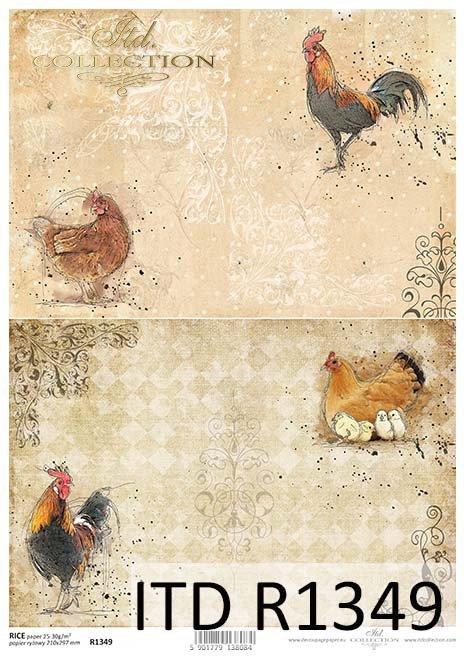 papier ryżowy decoupage kury, kurczaki, koguty*rice paper decoupage, chickens, roosters