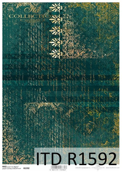 Papier-decoupage-dekory-ornamenty-stare-pismo-zielen-ze-zlotem*Decoupage-Papier-decors-ornaments-old-sha-letter-of-gold