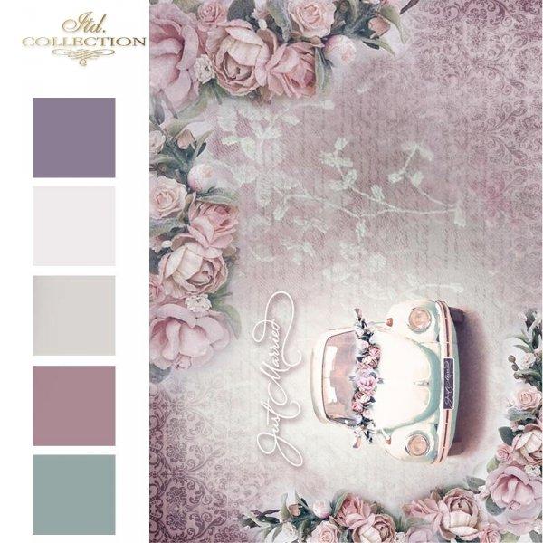 Papier-decoupage-retro-kwiaty-piękne-róże-samochód-do-ślubu-napis-Just-Marriedornamenty roślinne