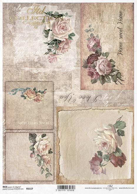 rosas de papel decoupage, un ramo de ...*Decoupage papírové růže, kytice pro ...*decoupage Papierrosen , ein Strauß für ...