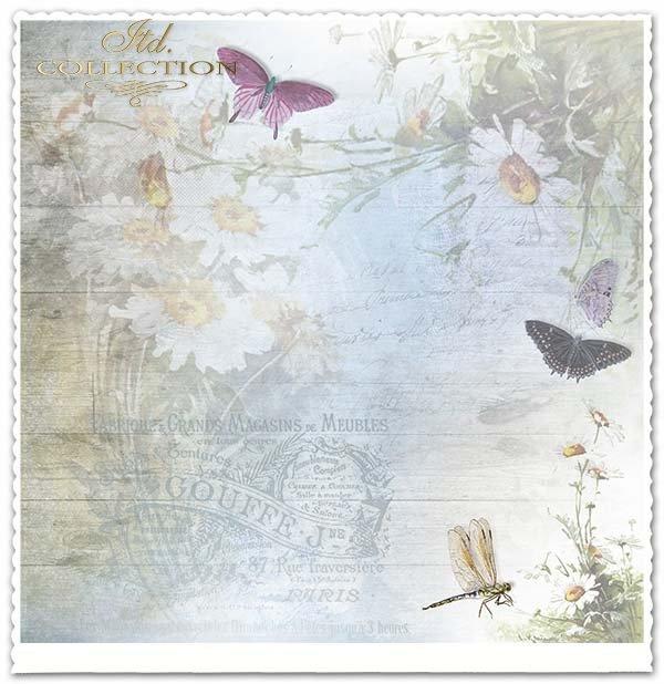 papier do scrapbookingu kwiaty nagietki, motyle, napisy*Paper for scrapbooking floral bouquets, butterflies, inscriptions*Scrapbooking Papier Ringelblumen Blumen, Schmetterlinge, Untertitel