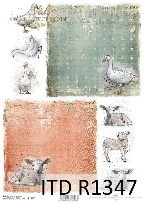 papier ryżowy decoupage Wielkanoc, gęsi, baranki*rice decoupage paper Easter, goose, lambs