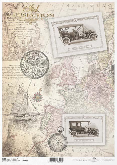 papel decoupage mapa viejo, coches viejos*decoupage papír staré mapy, stará auta*Decoupage Papier alte Karte, alte Autos