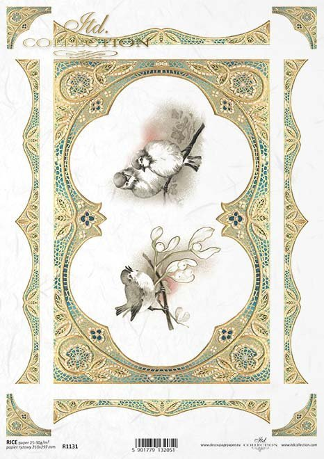 pájaros de papel decoupage, marco de oro, decoraciones*Decoupage papírové ptáci, zlatý rám, dekory*decoupage Papiervögel , Goldrahmen , Dekoren