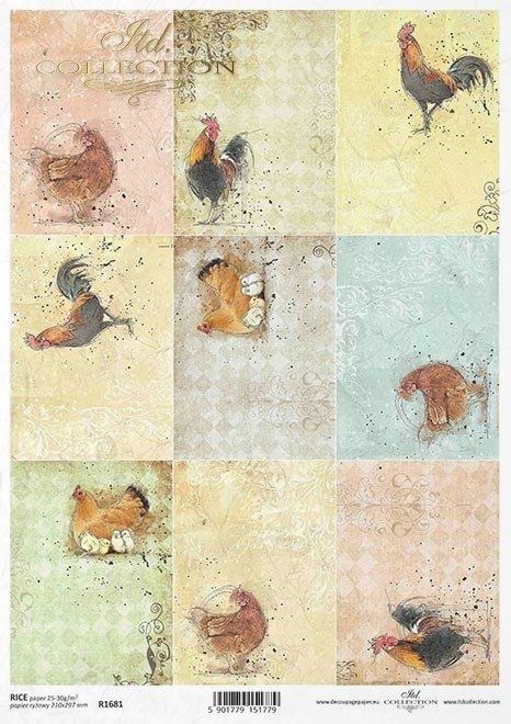 Pastele, tagi, koguty, kury, kurczaczki, Wielkanoc, małe obrazki*Pastels, tags, cocks, chickens, chickens, Easter, little pictures