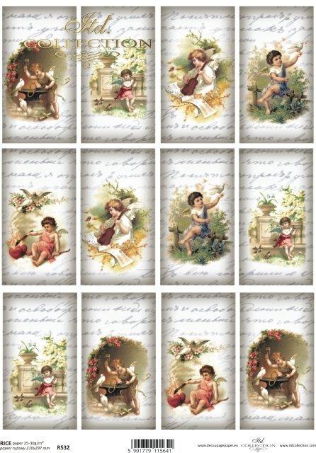 Papier ryżowy decoupage - amorki vintage, małe obrazki * R0532 * rice paper decoupage