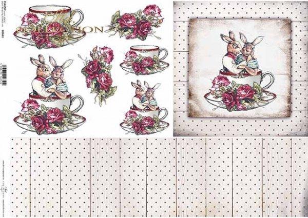 Pascua, Vintage, conejitos en una taza, tablas, flores, rosas*Ostern, Vintage, Hasen in einer Tasse, Bretter, Blumen, Rosen*Пасха, винтаж, зайчики в чашке, доски, цветы, розы