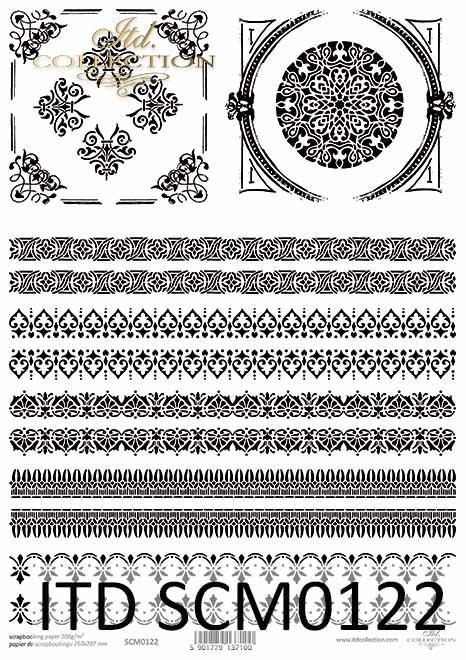 Papier scrapbooking Vintage, dekory, szlaczki, ozdobniki*Vintage scrapbooking paper, decors, patterns, embellishments