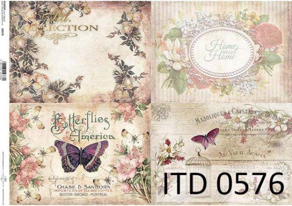 papier do decoupage kwiaty, motyle, ozdobne ramki*Paper for decoupage flowers, butterflies, ornamental frames