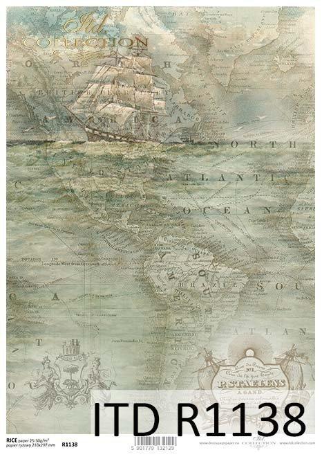 papier decoupage stara mapa, żaglowiec*Paper decoupage old map, sailing ship