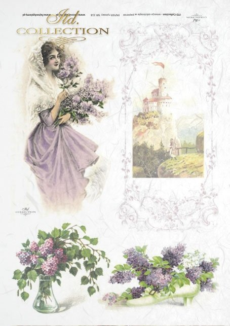 flower, flowers, lilac, lilac flowers, without, castle, woman, lady, dress, window,