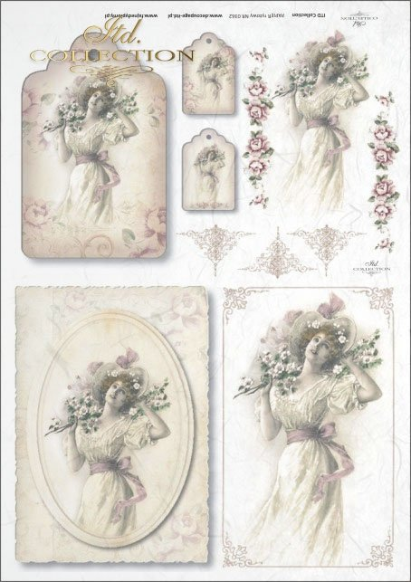 vintage, retro, woman, dress, flowers, floral decorations, medallion, board, romance, R362