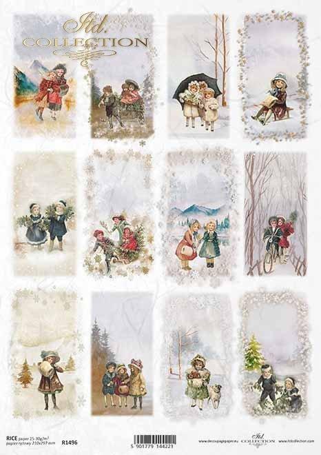 Navidad, fotos de invierno, niños, motivos para velas, botellas.*Weihnachten, Winterbilder, Kinder, Motive für Kerzen, Flaschen*Рождество, зимние картины, дети, мотивы для свечей, бутылки