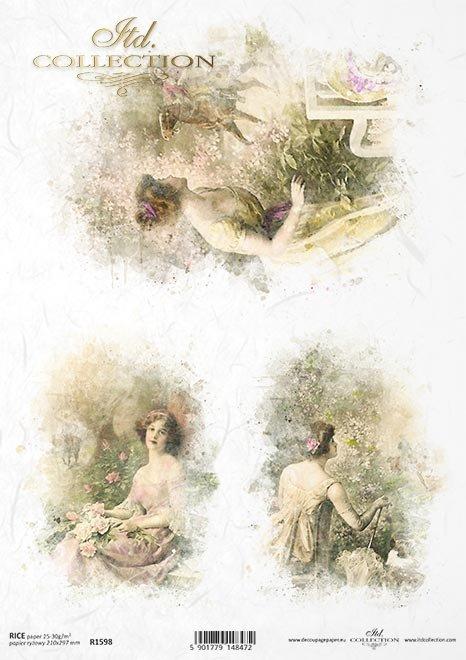 Papel-Decoupage-retro-mujer-espera-para-hombre*Papier Decoupage-Retro-Frau-waiting-for-Mann