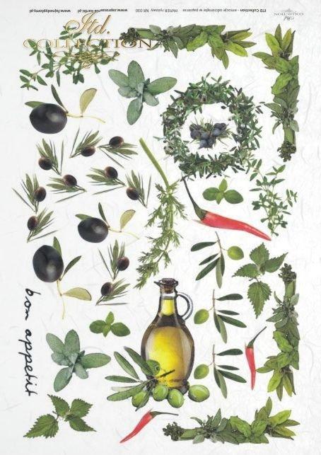 herb, herbs, garlic, paprika, oil,  olives, rosemary, basil, marjoram, bay leaves, R030