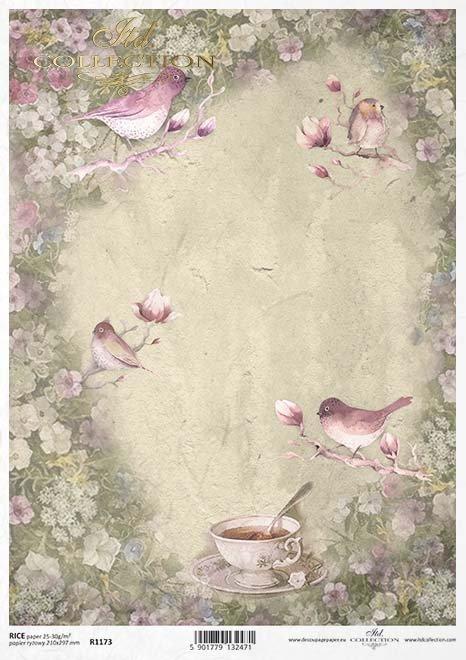 Vintage decoupage taza de papel, pájaros, flores*Vintage decoupage Pappbecher, Vögel, Blumen