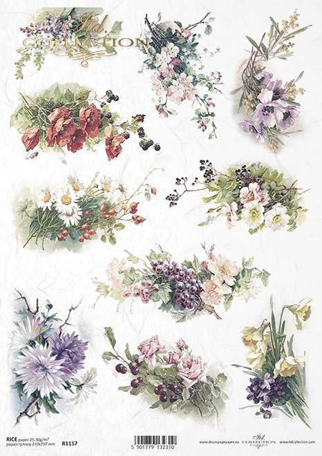 papel decoupage de flores*decoupage papírové kytice květin*decoupage Papierblumensträuße von Blumen