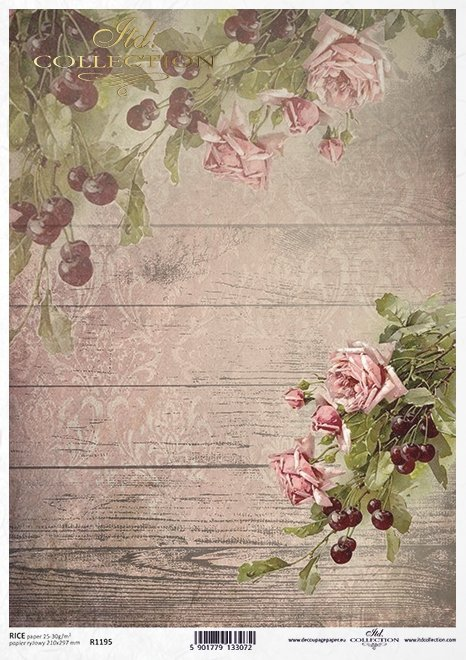 papel decoupage rosas, cerezas*декупаж бумажные розы, вишни*Decoupage Papier Rosen, Kirschen