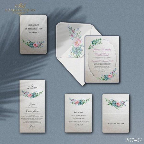 Zaproszenie 2074 * Zaproszenia ślubne * manu * winietki * Koperta z wklejką