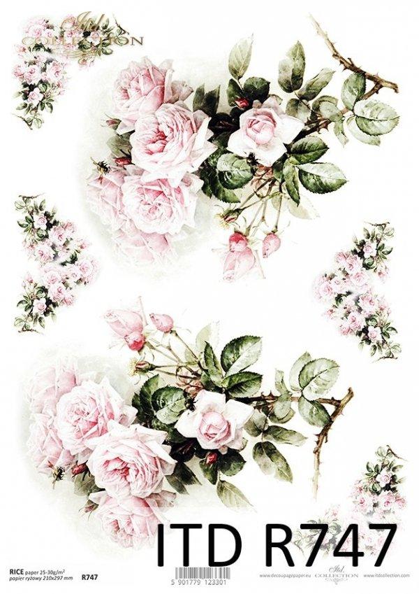 Papier ryżowy decoupage * róże, kwiaty * R0747