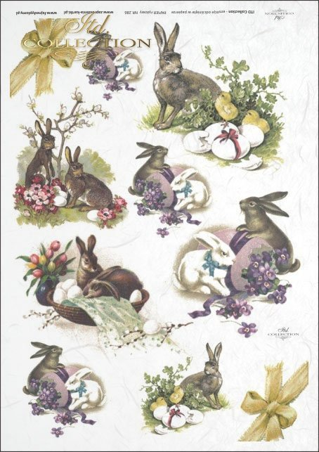 Easter, rabbits, hares, flowers, spring, eggs, Easter eggs, R286